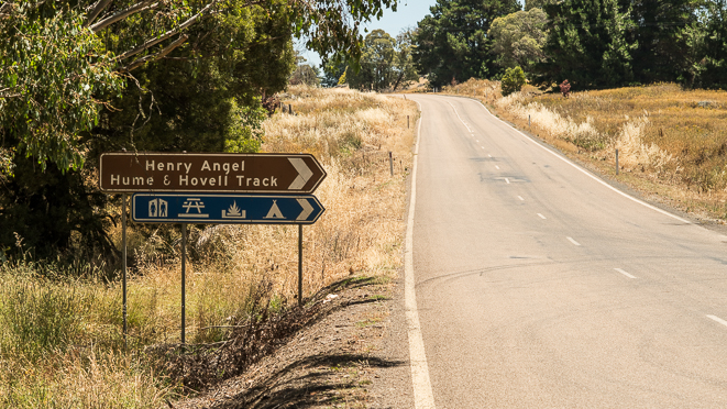 Tooma Road Tumbarumba sign for the Henry Angel Track